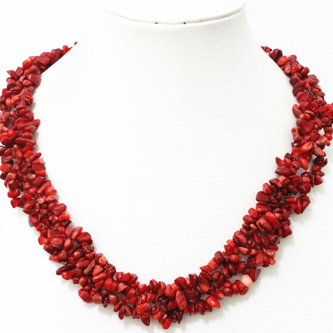 Fashion natural red coral irregular gravel chips nugget beads diy chokers necklace for women elegant jewelry making 18inch B522 - onlinejewelleryshopaus