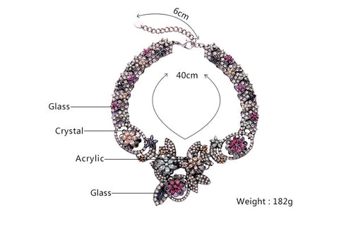 Chic & Charming Maxi Necklace Chunky Colorful Rhinestone Flowers Necklace Choker Brand Jewelry From Indian - onlinejewelleryshopaus