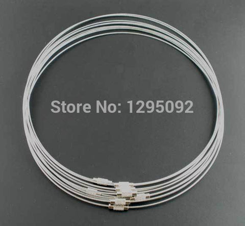 "Wholesale 30Pcs Silver Tone Steel Wire Choker Necklaces Torques Screw Clasp Charms Component Women & Men Jewelry 18"" - onlinejewelleryshopaus"