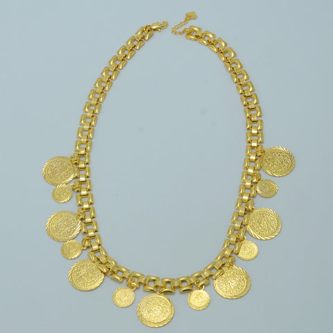 43CM/Arab Coin Chokers Necklace for Women,Islam Ancient Coins Yellow Gold Plated Jewelry Muslim Middle East Necklace #007106 - onlinejewelleryshopaus