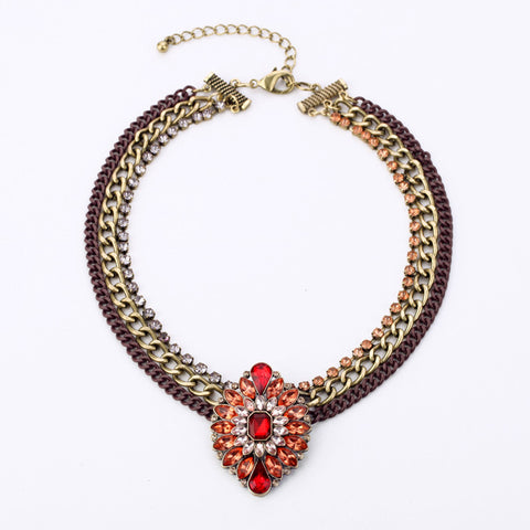 2014 Vintage Retro Chain Red Crystal Oval Pendant Necklace Chunky Statemet Jewelry For Women Free ping - onlinejewelleryshopaus