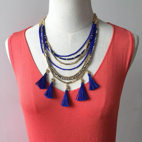 TULUM TASSEL NECKLACE Famous Brand Jewelry Boho Multi Layered Golden Beaded Chain Royal Blue Silk Tassel Statement Necklace - onlinejewelleryshopaus