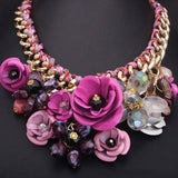 2016 New Unique Colorful Flower Necklace Women Fashion Maxi Collar Statement Necklaces Jewelry Accessories - onlinejewelleryshopaus