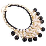 U7 2016 New Simulated Pearl Jewelry Women Maxi Necklace Fashion Luxury White And Black Statement Necklace Women Wholesale N865 - onlinejewelleryshopaus