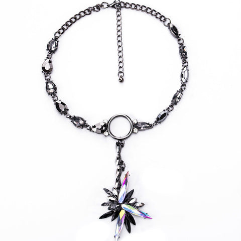 FARLENA Jewelry Hot sale Shining Crystal Ice Flower Pendant Necklace Statement Choker Necklaces for Women - onlinejewelleryshopaus