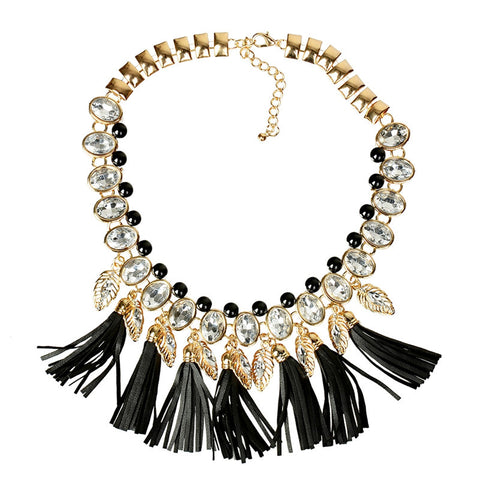 Vintage Crystal Statement Chunky Statement Bib Necklace Black Tassel Gold Plated Exaggerated Necklaces&Pendants Women Jewelry - onlinejewelleryshopaus