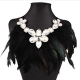 Feather Tassel Necklace 2016 Fashion Women Crystal Rhinestone Necklaces& Pendants Ribbon Accessory Boho Jewelry - onlinejewelleryshopaus