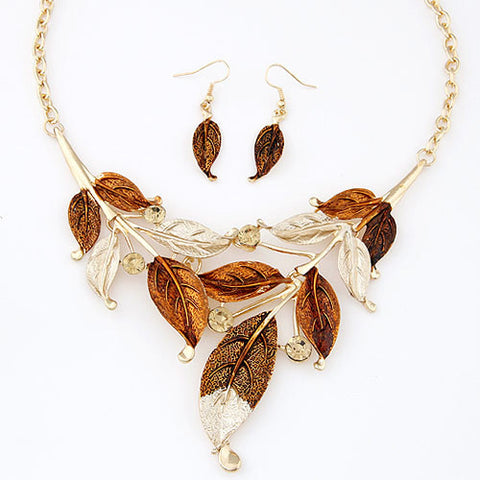 Bohemian Fashion Metal Necklace Earrings Jewelry Simple Colored Leaves Choker Necklace Clothes Accessories - onlinejewelleryshopaus