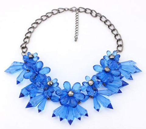 New 2014 Europe United States big blue gem Flower retro exaggerated short Necklace For Women Chokers Jewelry - onlinejewelleryshopaus