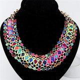 Fashion Exaggerated Crystal Beads Statement Gold Plated Chain Collar Choker Bib Necklace for Women Jewelry - onlinejewelleryshopaus