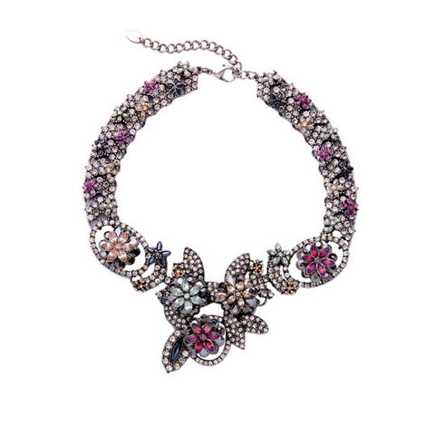 2016 Fashion Big Crystal Flower Choker Necklace Silver Women Party Necklace Jewelry - onlinejewelleryshopaus