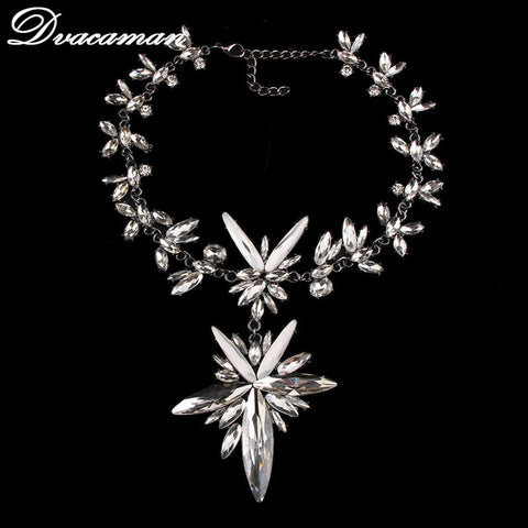 2017 Chunky Maxi Colar Statement Necklace for Women Elegant Wedding Jewelry Triangle&Water Drop Rhinestone Necklace&Pendant 7536 - onlinejewelleryshopaus