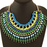 Luxury Bohemia Multi-Layer Graceful Knotted Rope Chain Round Beads Pendant Necklaces Handmade Statement Collar Necklace Jewelry - onlinejewelleryshopaus