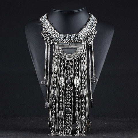 Hot african tassel exaggerated long Silver Coin necklace necklaces & pendants for women vintage jewelry - onlinejewelleryshopaus