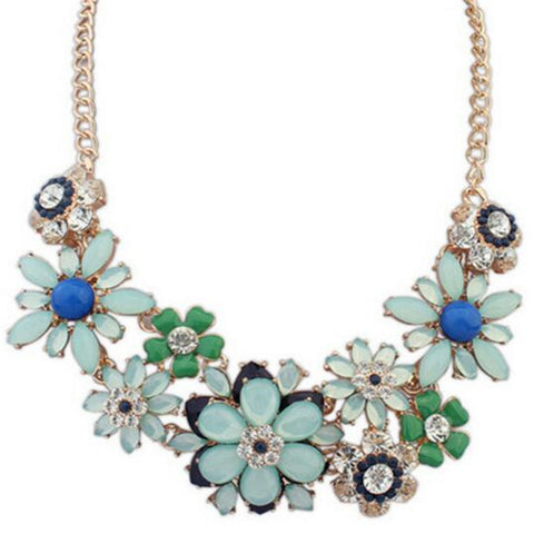 Statement Bib Necklace Collar Vintage Choker Necklaces Women Jewelry Multicolor Flower Resin Choker Necklaces Women Jewelry - onlinejewelleryshopaus