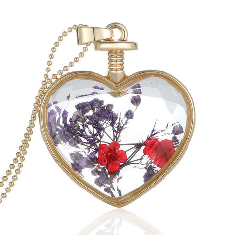 women dried flower locket wishing bottle Jewelry necklace pendant 2017 Fashion Natural plant flower DIY glass locket necklace