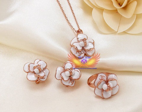 Design!18k real gold Plated oil drip flowers Luxury necklace&earrings&RingsJewelry sets S0320-21