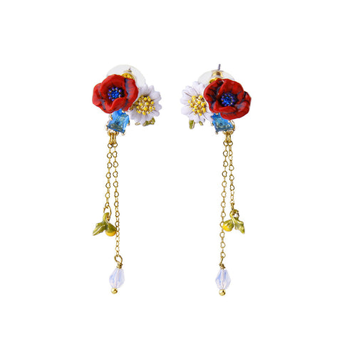 Polished Handcraft Crystal Made Flower Blooming Long Drop Earrings For Women Jewelry Wholesale