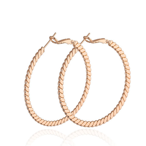 High Quality 2016 Fashion Gold Plated Bamboo Pattern Carved Big Circle Ear Hoop Earring For Women