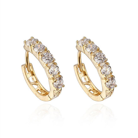 2016 Fashion AAA CZ Diamond Small Round Gold Plated Zircon Huggies Hoop Earrings For Women Fine Jewelry brincos de festa E0091