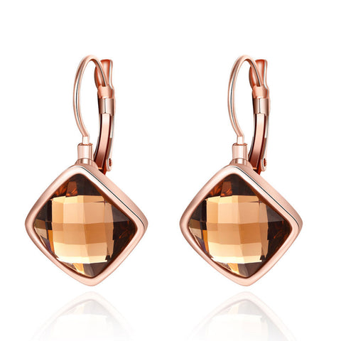 Retro Classic Big Square Glass Stone Statement Hoop Earrings Women Lady Fashion Jewelry Brincos Vintage Rose Gold Loop Earings