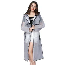 Transparent Raincoat Hooded Women Long Jacket Waterproof