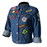 Fashion jean jacket women coat denim jackets Appliques jacket Patch Designs Character coat jaqueta feminina chaquetas mujer