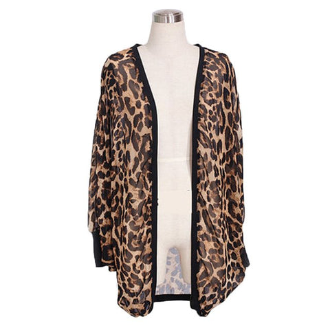2017 Womens Clothes Jacket Female Chiffon Leopard Batwing Sleeve Open Stitch Casual Womens Jacket Cardigan Clothes