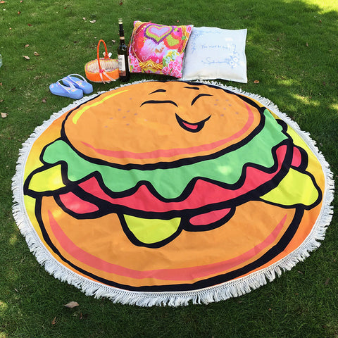 Soyi - Large Thick Funny Pattern Smile Hamburger Microfiber Round Beach Towels With Tassel Home Decoration Round Tablecloth