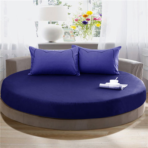 100% Cotton Elastic Fitted Sheet Solid Color Round Mattress Cover Home Bed Protective Case Circle Bed Cover Queen King Bed Sheet