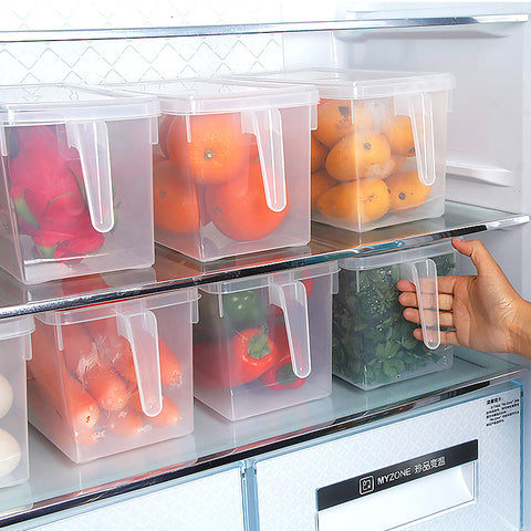 1pc Kitchen Food Container Storage Box Food Crisper Refrigerator Storage Box Organizer With Handle - Transparent V3232