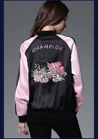 2016 Heavy Embroidery Woman Bomber Jackets Fashion Patchwork Pink Woman Baseball Unifrom Florals Pattern Woman Jackets Vestidos