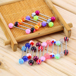 New Arrival Simple 20 Pcs/Set Women Popular Sexy Colorful Assorted Ball Tongue Nipple Bar Ring Piercing Body Jewelry