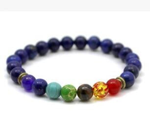 2016 New 1pc Mens Womens 7 Chakra Bracelets Bangle Colors Mixed Healing Crystals Stone Chakra Pray Mala Bracelet Jewelry
