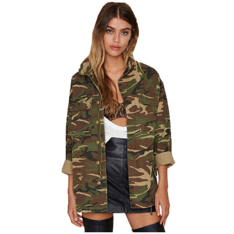 Fashion Military Women Jacket 2017 New Spring Autumn Zipper Outwear Coats Female Vintage Camouflage Army Green Jackets SF058