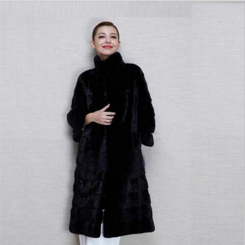 2017 Winter New Thick Warm Women Fur Coat High Quality Long Faux Rex Rabbit Fur Coat Black Parka Jacket Overcoat