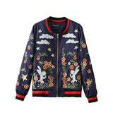 Herfst Winter Womens Jacket Embroidery Clouds Angel Floral Long Sleeve Bomber Baseball Deep Blue Lady Warm Coat 2016