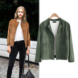 2017 Autumn and Winter New Large Size Women's Jacket Fashion Slim Long Sleeve Suede Short Jacket AXD1939