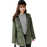 Fashion Korean Style Spring Autumn Women Jacket Long Sleeve Hooded Casual Military Outerwear Jaqueta Feminina Plus Size YC544