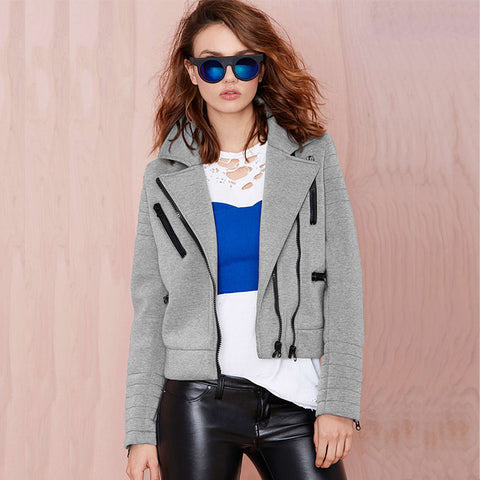 Women Jacket New Fashion Spring Autumn Zipper Coat Jacket Turn-Down Collar Long Sleeve Jacket Outwear Casaco Feminino Y0415-96E