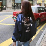 Coats Women Jacket Special Offer Polyester The New 2017 Embroidery Woman Letters Shiny Loose Sleeves Baseball Bat Suit Pilot