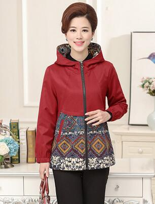 Fashion Printed Hooded jacket New 2017 Spring Autumn Middle Aged Women jacket Mother Outwear Plus Size 4XL s721