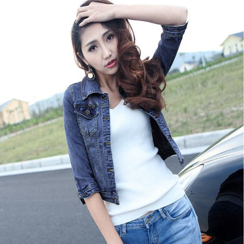 Spring And Fall European And American Women's Jackets Dongdaemun Denim Jacket Sleeve Female Short Paragraph Jacket Free Shipping