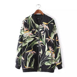 2017 Spring Autumn Long Sleeve Women's Jacket Elegant Big Flowers Print Bomber Jacket Women Zipper Tops Pilots Outwear Oversized