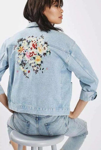 European And American Back Big Embroidered Flowers Sleeved Denim Coat Cotton Blue New Fall attractive fashion women Jacket