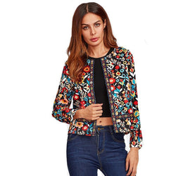 Botanical Jacket for Women Multi-color Collarless Single Breasted and Elegant