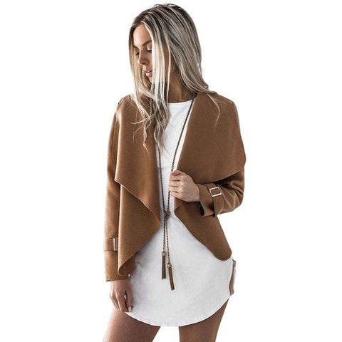 Turn-down Collar Coat for Women with Long Sleeve