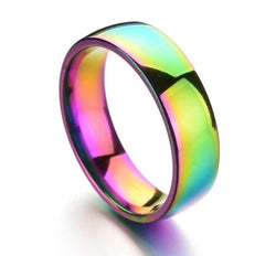 Colorful Glare Smooth Rainbow Ring Stainless Steel Rings