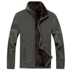 Mens Soft-shell Fleece Casual Jackets Men Warm Sweatshirt, Thermal Coats Solid Thickened