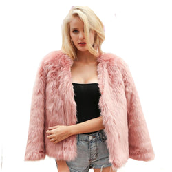 Faux Fur Coat for Winter Fashion Fur Jacket V Neck Full Sleeve